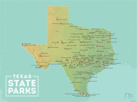 map of state parks in texas texas state parks map 18x24 poster