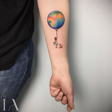 world wide tattoo small earth balloon idei tatuaje tattoos world