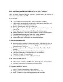 and responsibilities hr executive in a company