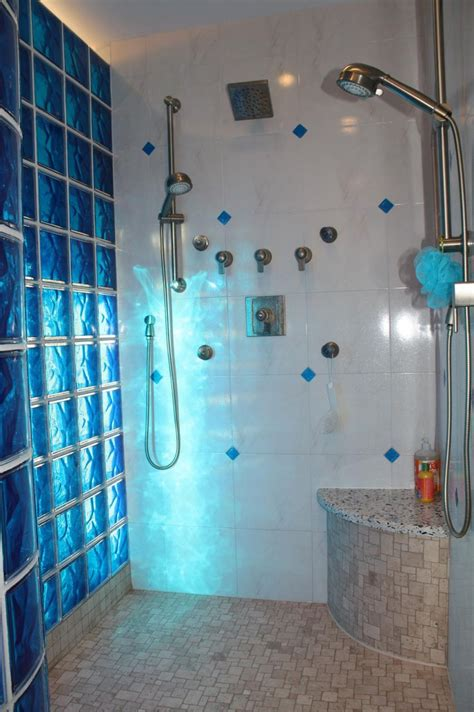 Colored Shower by Colored Glass Block Shower In Middleton Wisconsin With A