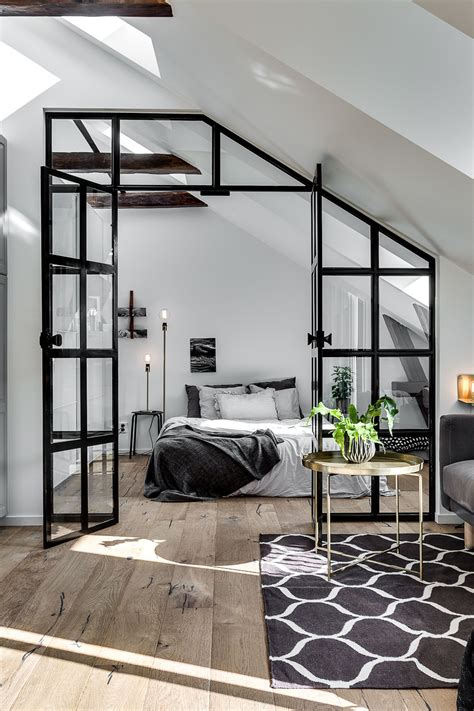 pinterest industrial bedroom attic apartment with an industrial glass wall gravity