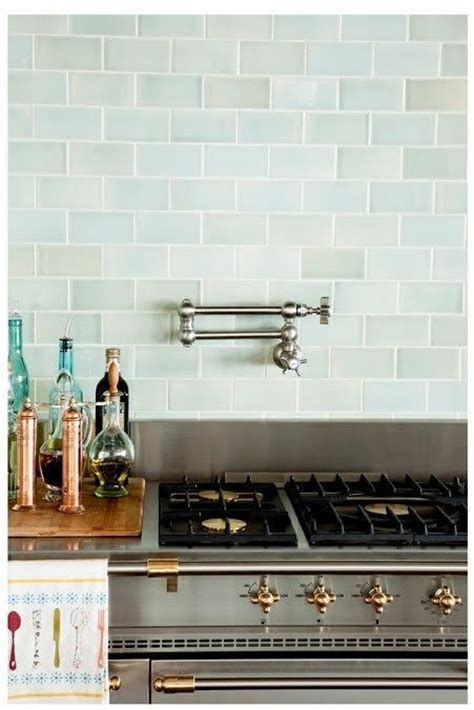 colored subway tile backsplash subway tile in seaglass colors kitchen pinterest