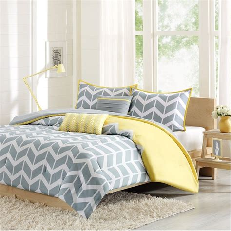 yellow twin xl comforter twin twin xl 4 piece chevron stripes comforter set in gray