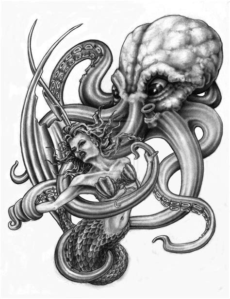 huge grey octopus and pretty mermaid tattoo design