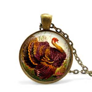 thanksgiving pendant turkey necklace autumn jewelry