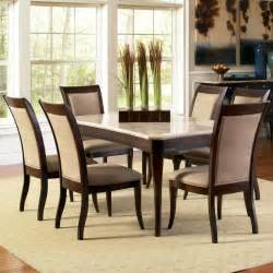 Marble Dining Room Table And Chairs Steve Silver Marseille 7 Rectangular Marble Table And Upholstered Side Chair Dining Set