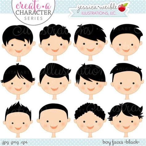 creare clipart capelli neri ragazzo facce creare una serie di caratteri
