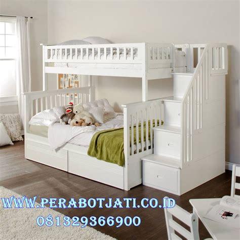 Tempat Tidur Kayu Warna Putih tempat tidur anak tingkat warna putih perabot jati