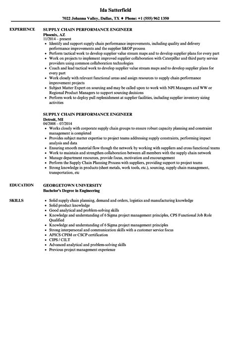 supply chain performance engineer resume sles velvet