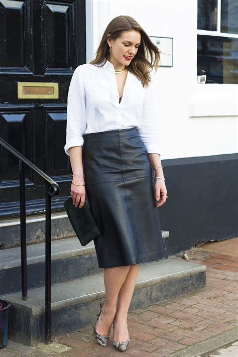 leather skirt and white shirt dress