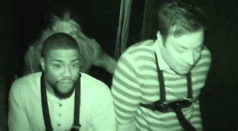 kevin hart haunted house jimmy fallon and kevin hart shriek their way through a
