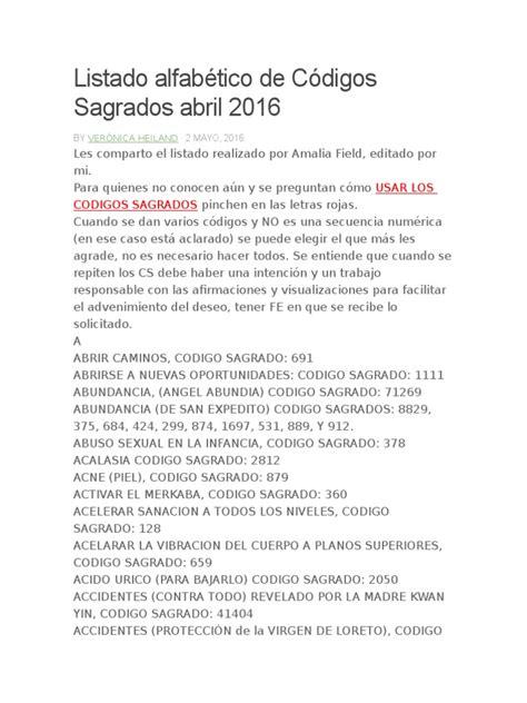 lista actualizada codigos sagrados listado alfab 233 tico de c 243 digos sagrados abril 2016