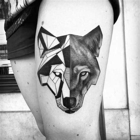 wolf tattoo half geometric 34 stunning blackwork thigh tattoos for women tattoomagz