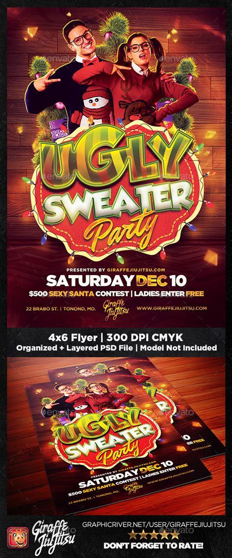 dafont ugly sweater ugly sweater party flyer template by giraffejiujitsu