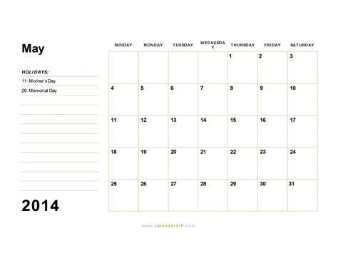 may 2014 calendar blank printable calendar template in