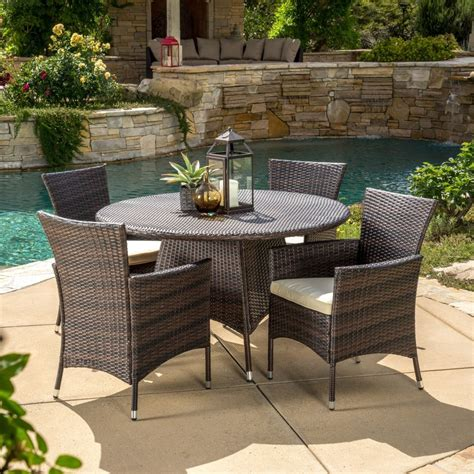 5 Piece Outdoor Patio Furniture Multi Brown Wicker Round Brown Wicker Patio Furniture