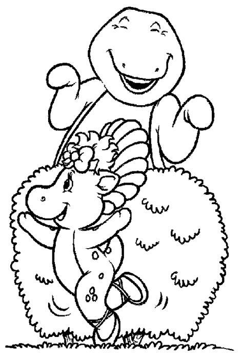 mewarnai gambar kartun barney  kawan kawan bahan