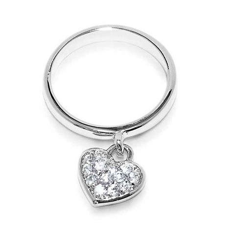 sterling silver pave charm ring