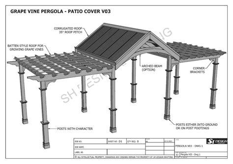 patio structure plans grape vine outdoor pergola patio cover veranda v3