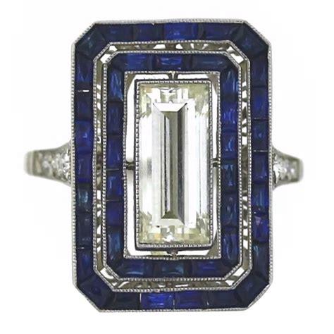 Art Deco Diamond and Sapphire Ring   Art deco diamond