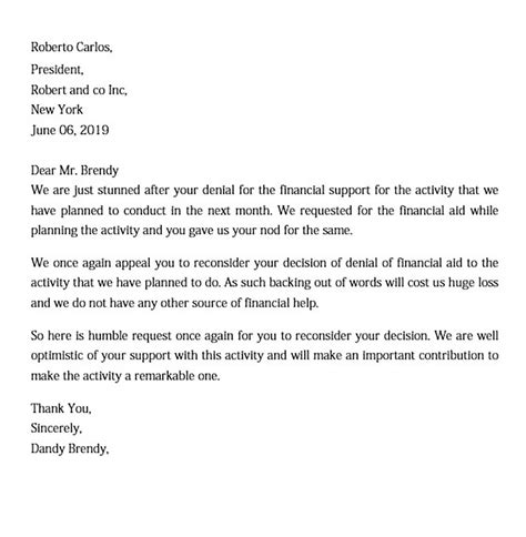 financial aid appeal letter template