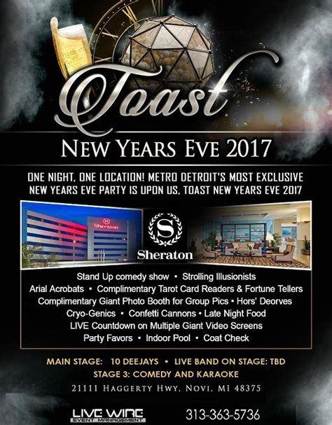 new years events michigan new year s 2017 at novi in sheraton detroit novi hotel