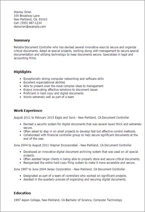 cv resume format sle professional document controller templates to showcase