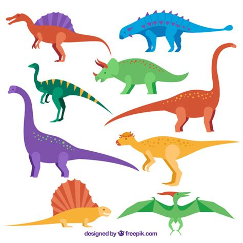 Large Dinosaur Wall Stickers collection colored flat dinosaur vector premium download