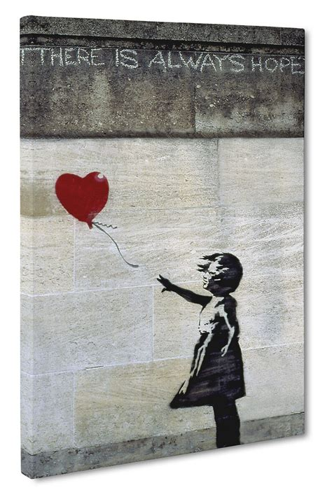 banksy love heart balloon girl canvas wall art print