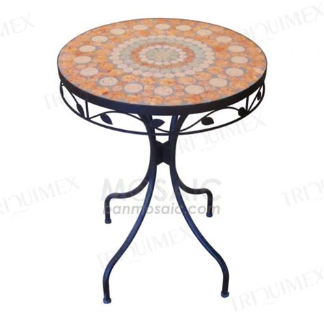 Tile Top Bistro Table Metal And Ceramic Mosaic Table For Outdoor Garden Triquimex