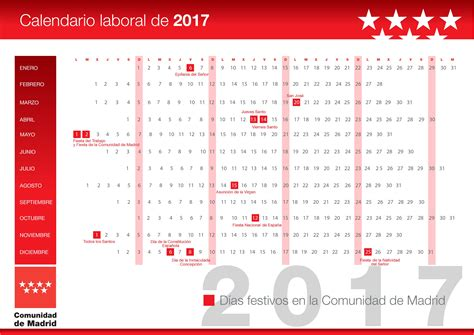 Calendario Laboral De 2017 Calendarios Laborales 2017 Madrid Valladolid Catalu 241 A Y