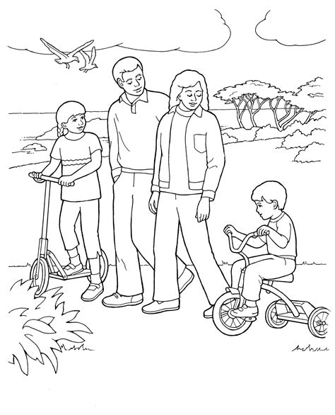 coloring pages for family home evening primary coloring page family walking together ldsprimary