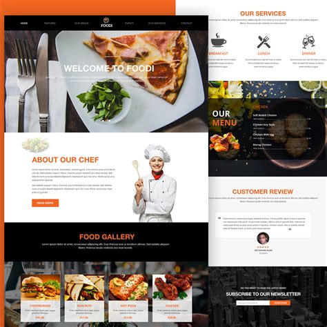 Download Free Restaurant Website Homepage Template Free Psd At Downloadpsd Com Restaurant Website Template With Ordering