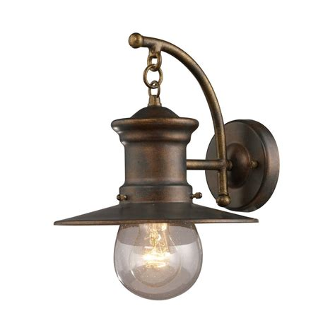 Seeded Glass Nautical Outdoor Wall Light Bronze 12 Inch Nautical Lights