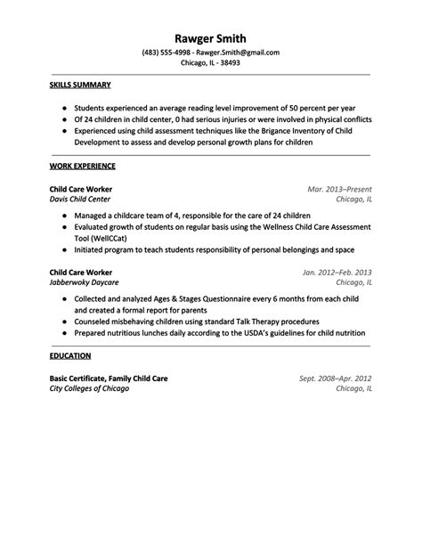 sle resume for child care assistant resume for daycare resume ideas