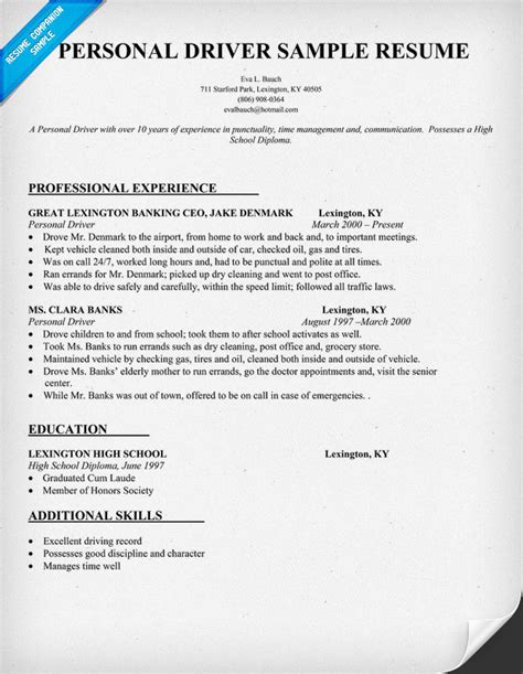 Resume Sle For School Driver Resume Format Resume Sles Driver