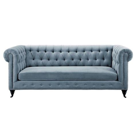 grey velvet chesterfield sofa rolled arms nail head trim