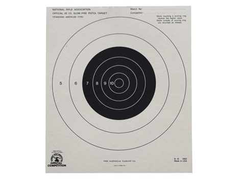 printable targets midway nra official pistol targets b 16 25 yard slow fire paper
