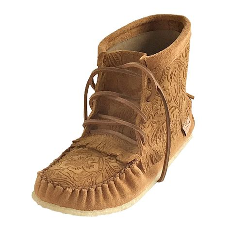 moccasin boots for s floral embossed genuine suede ankle