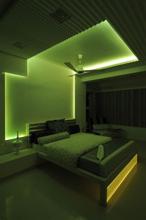 Neon Lights For Bedroom Master Bedroom With Green Neon Light Design By Architect Sonali Shah India Master Bedroom