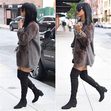 rihanna in marant adele fur jacket