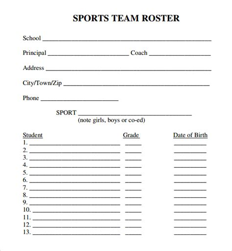 free roster templates printable sle sports roster template 7 free documents