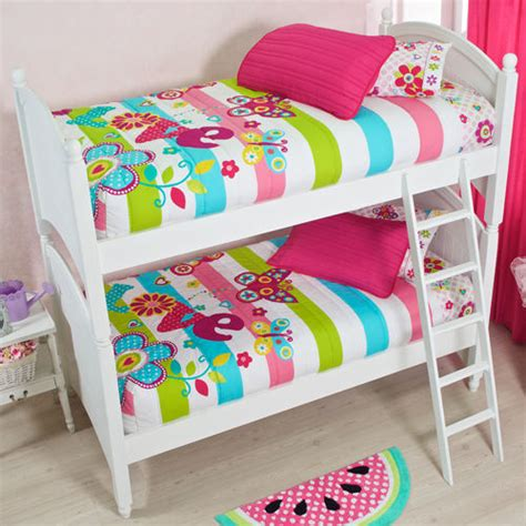 Bunk Bed Sheet Sets New Pink Aqua White Flowers Bedspread Bunk Bed Sheet Set Ebay