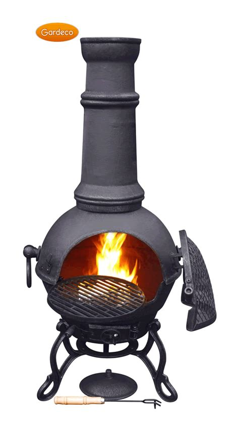 Clay Chiminea With Iron Stand Large Toledo Black Cast Iron Chimenea Fireplace With Bbq