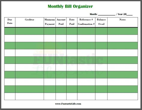 Free Printable Monthly Bill Organizer Funtastic Life Free Bill Planner Template