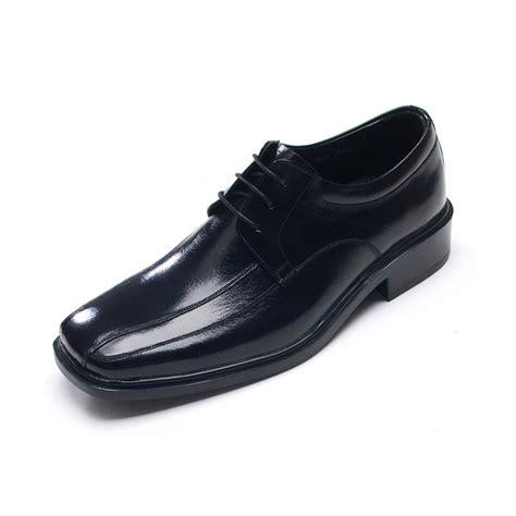 mens square toe side line stitch black cow leather
