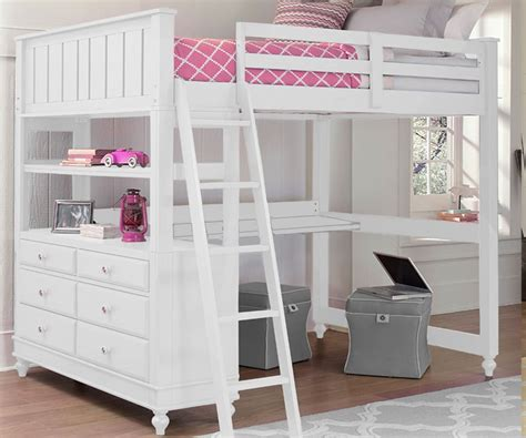 White Bunk Bed With Desk 1045 Size Loft Bed With Desk White Lakehouse Collection Ne Furniture In White
