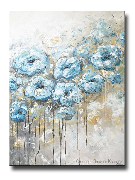 blue and white painting original abstract flowers painting floral blue white