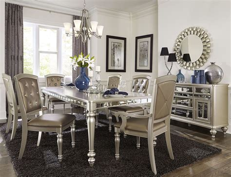 Silver Dining Room Table Steve Silver Leona 9 Dining Room Set In Silver Dining Room Set Home Design