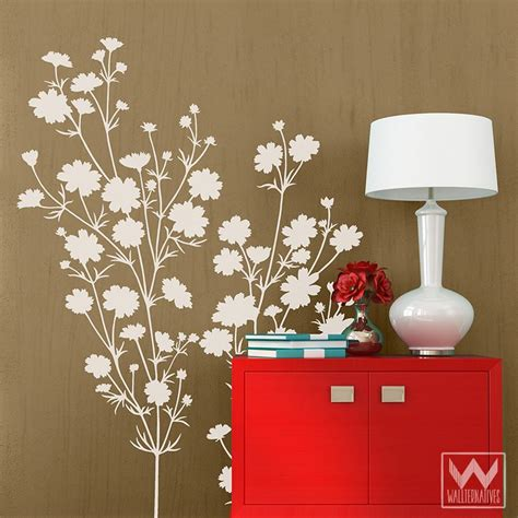 floral wall stickers floral wall decal hibiscus flowers wall decal floral